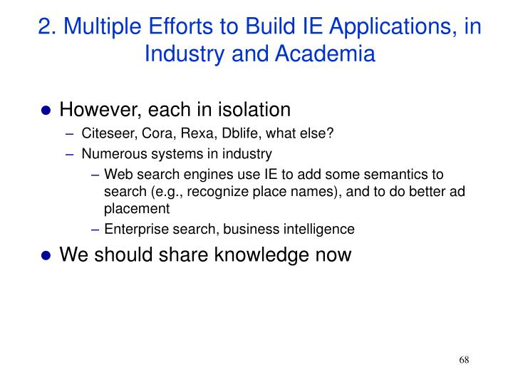 2. Multiple Efforts to Build IE Applications, in Industry and Academia