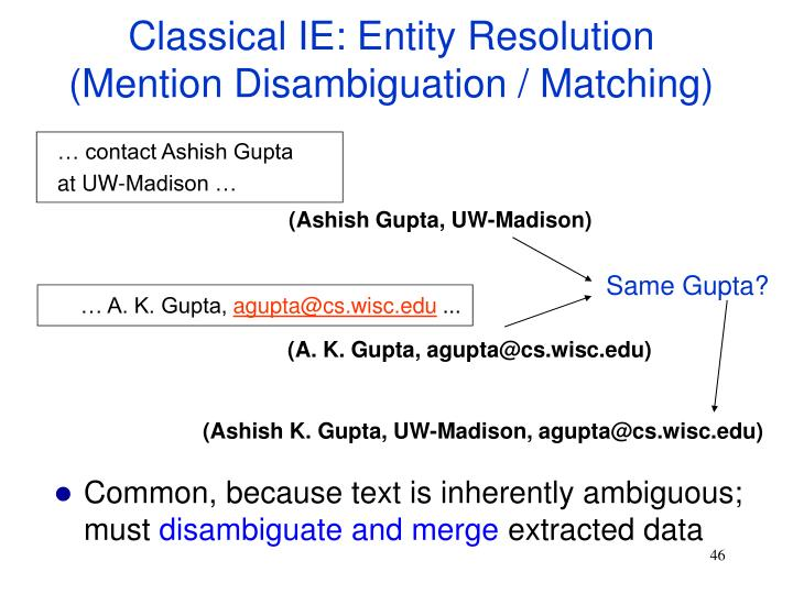 Classical IE: Entity Resolution