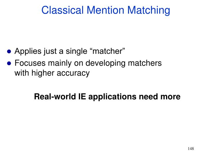 Classical Mention Matching