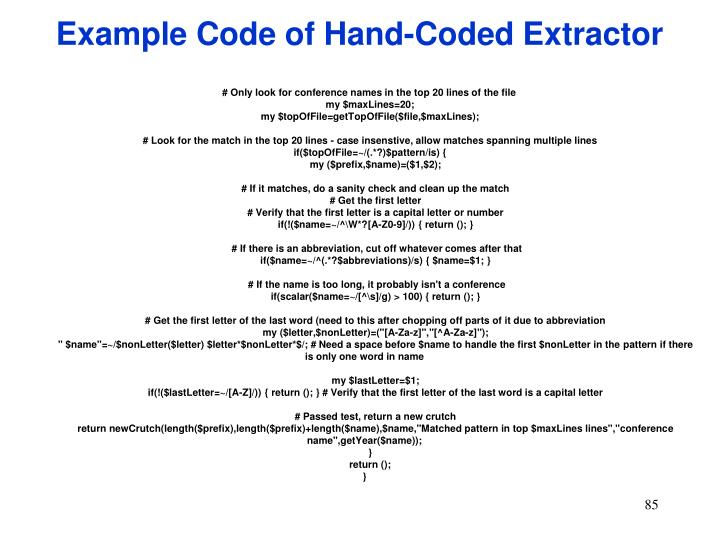 Example Code of Hand-Coded Extractor