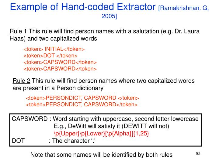 Example of Hand-coded Extractor