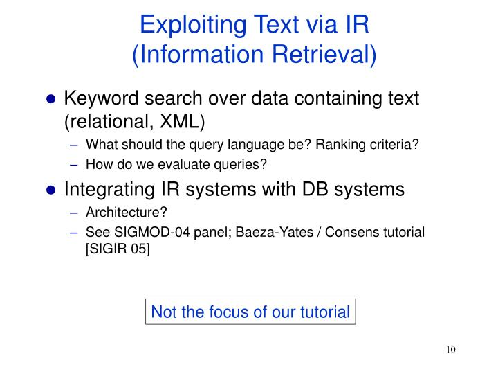 Exploiting Text via IR