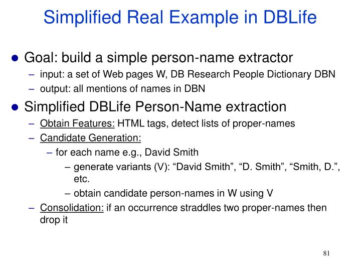 Simplified Real Example in DBLife
