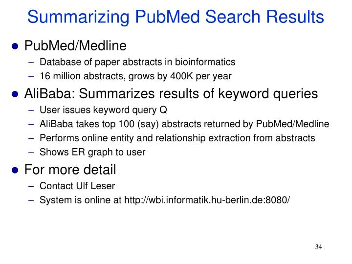 Summarizing PubMed Search Results