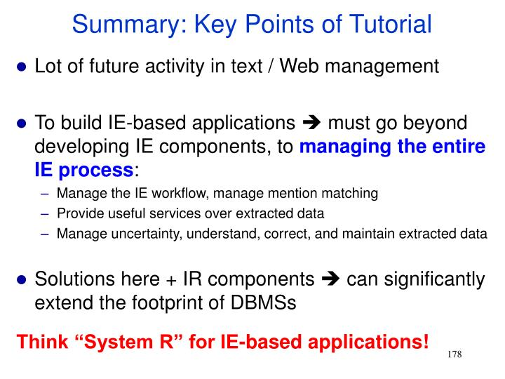 Summary: Key Points of Tutorial