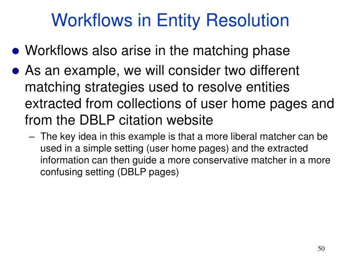 Workflows in Entity Resolution