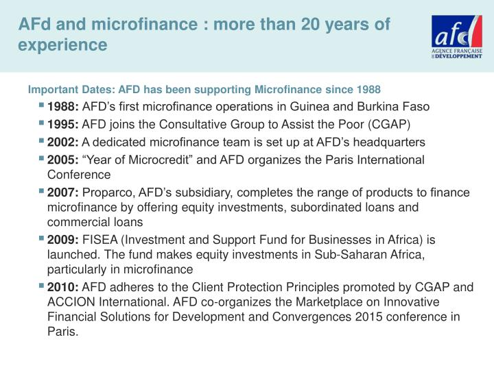 AFd and microfinance : more than 20 years of experience