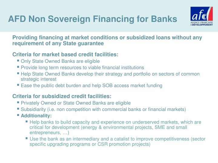 AFD Non Sovereign Financing for Banks