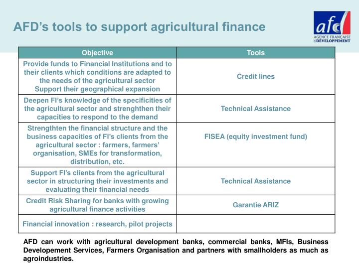 AFD's tools to support agricultural finance