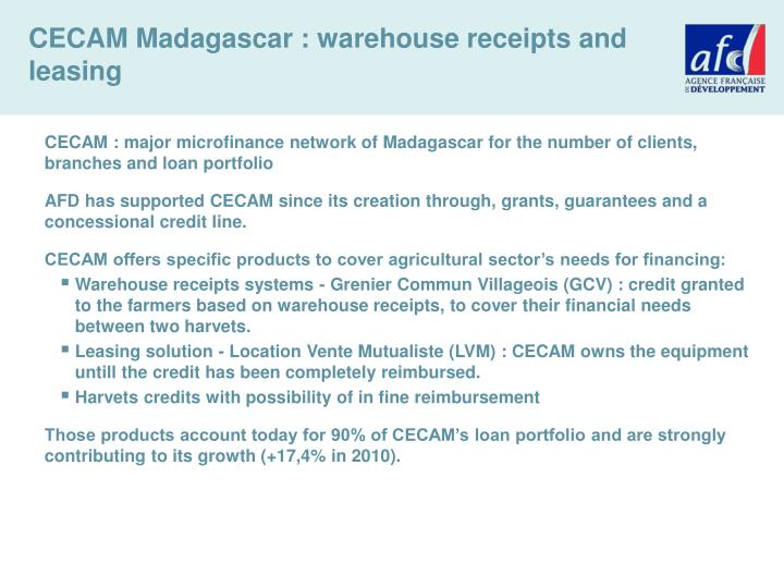 CECAM Madagascar : warehouse receipts and leasing