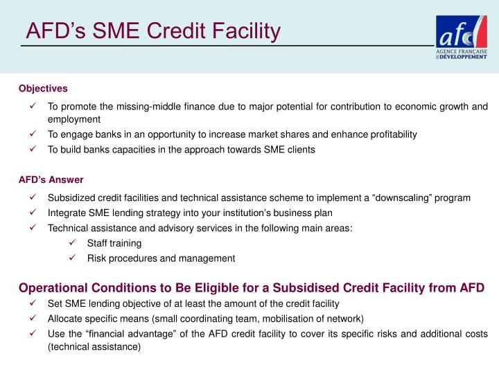 AFD's SME Credit Facility