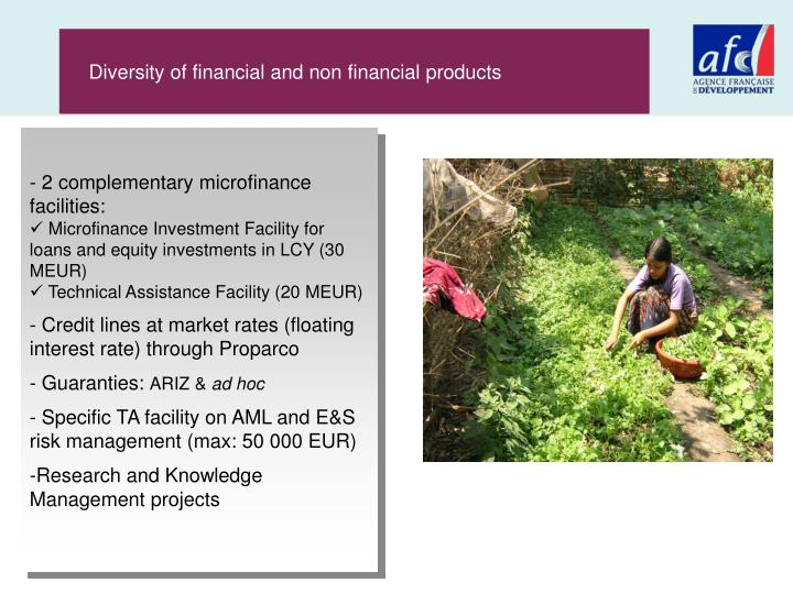 Diversity of financial and non financial products