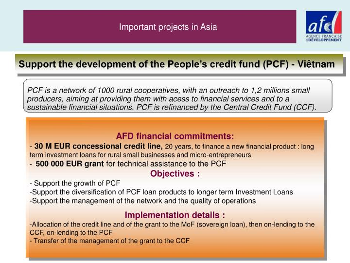 Important projects in Asia