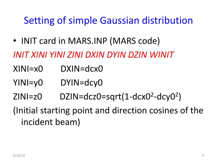 Setting of simple Gaussian distribution