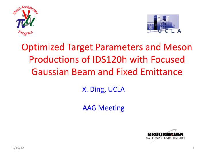 Optimized Target Parameters and Meson Productions of IDS120h with Focused Gaussian Beam and Fixed Emittance