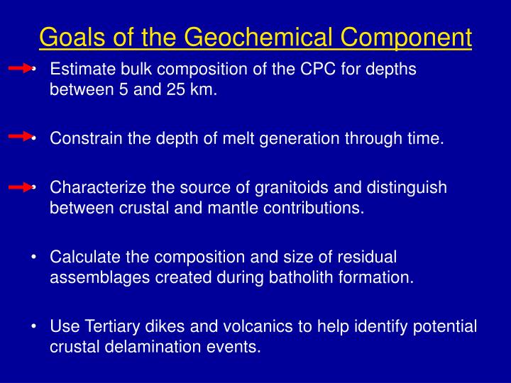 Goals of the Geochemical Component