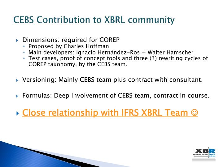 CEBS Contribution to XBRL community