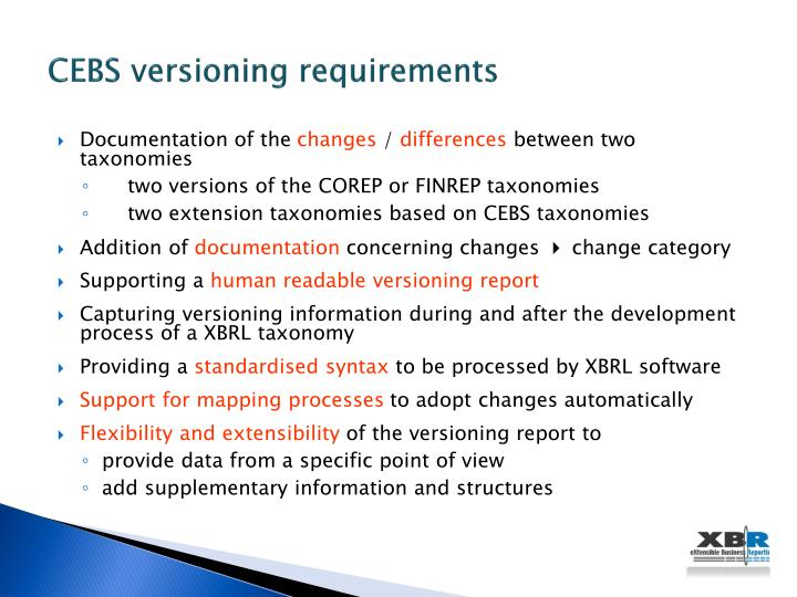 CEBS versioning requirements