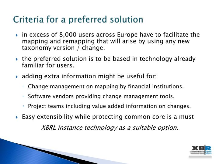 Criteria for a preferred solution