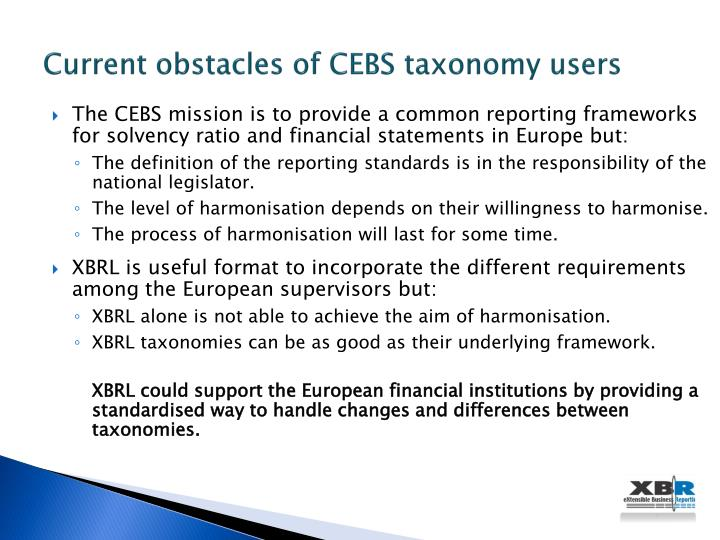 Current obstacles of CEBS taxonomy users