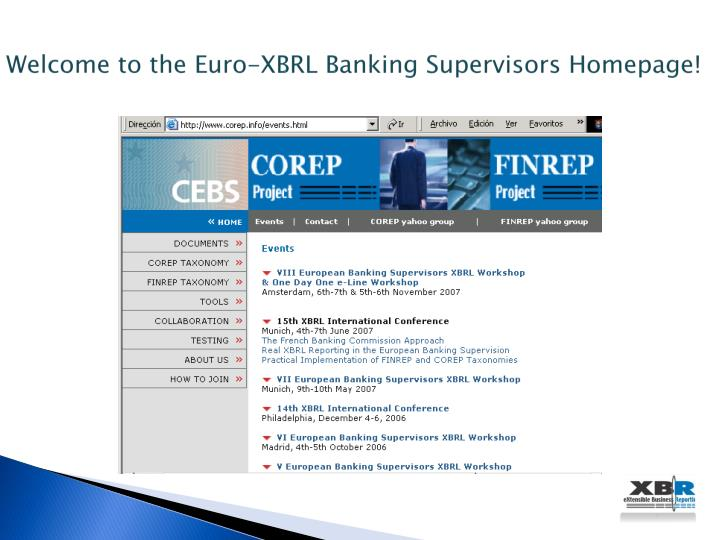 Welcome to the Euro-XBRL Banking Supervisors Homepage!