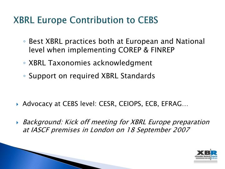 XBRL Europe Contribution to CEBS