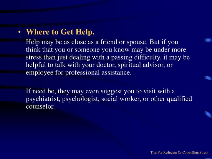 Where to Get Help.