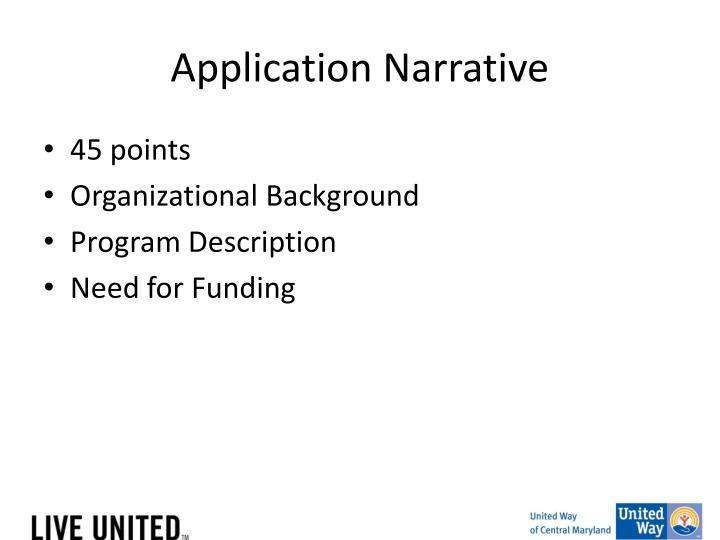 Application Narrative