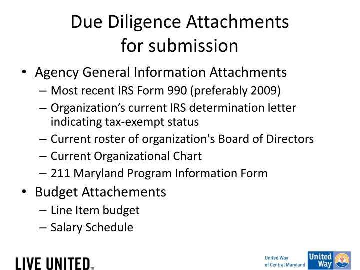 Due Diligence Attachments
