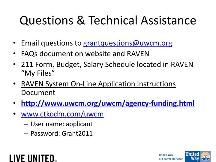 Questions & Technical Assistance