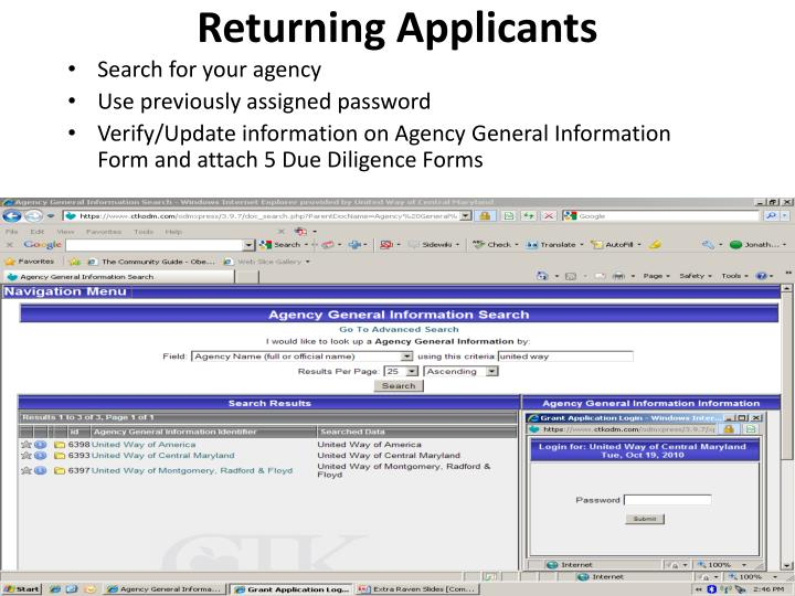 Returning Applicants