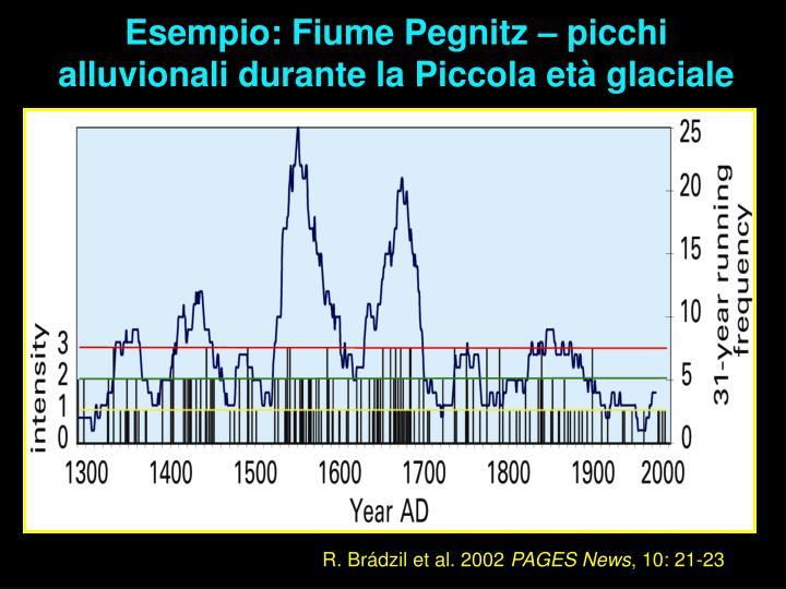 Esempio: Fiume Pegnitz – picchi alluvionali durante la Piccola età glaciale
