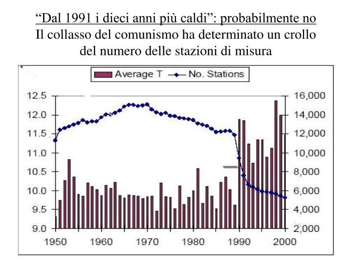 """""""Dal 1991 i dieci anni più caldi"""": probabilmente no"""