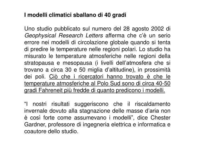 I modelli climatici sballano di 40 gradi