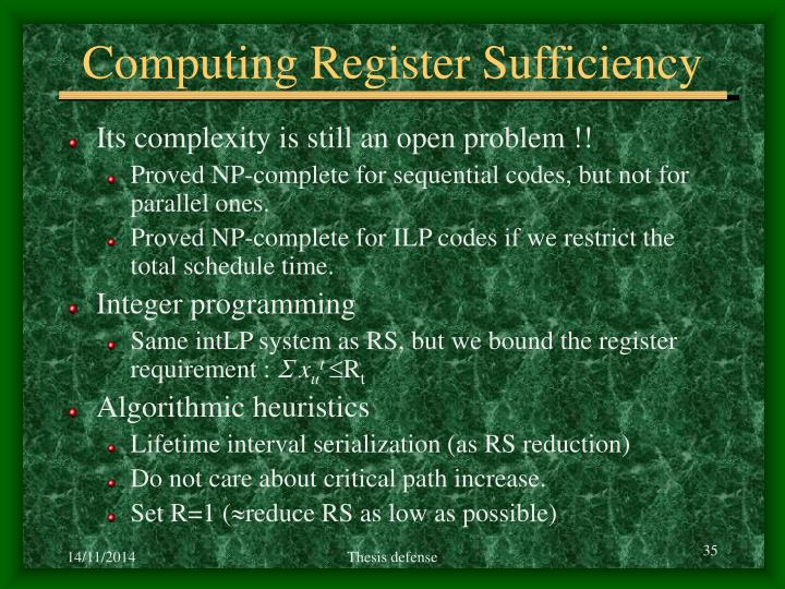Computing Register Sufficiency