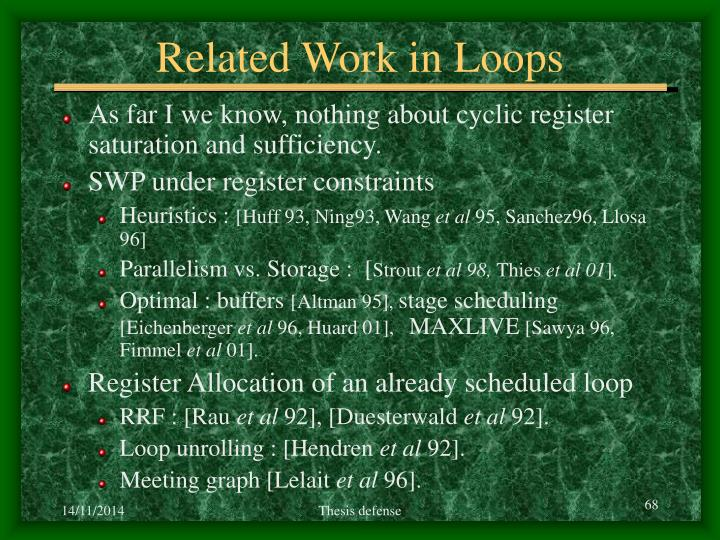 Related Work in Loops