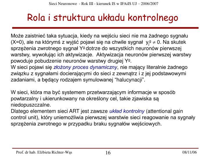 Rola i struktura układu kontrolnego