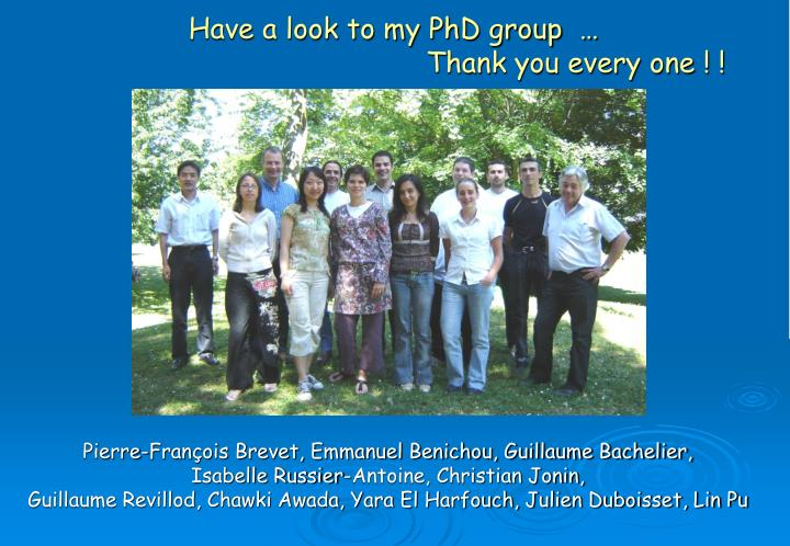 Have a look to my PhD group  …