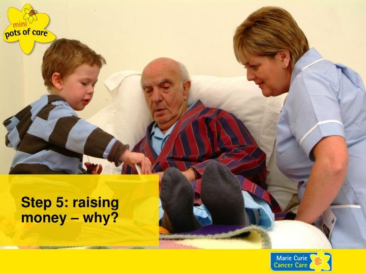 Step 5: raising money – why?