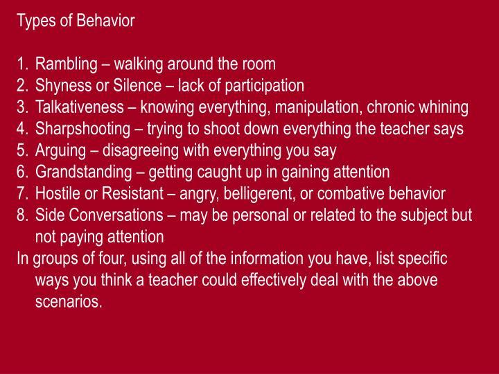 Types of Behavior