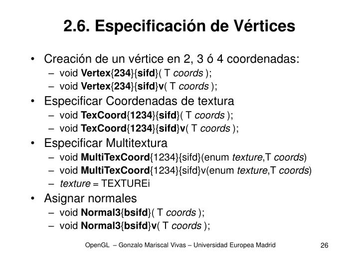 2.6. Especificación de Vértices