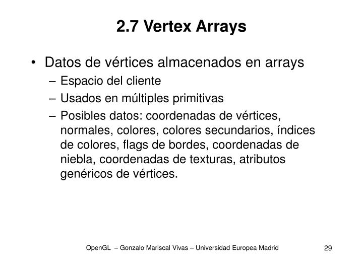 2.7 Vertex Arrays