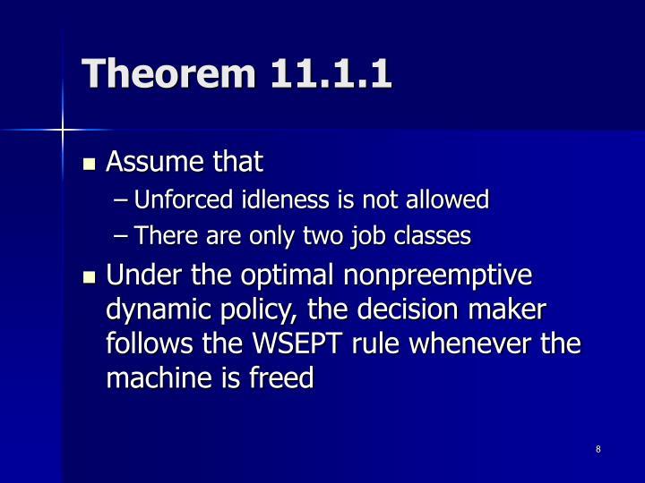 Theorem 11.1.1