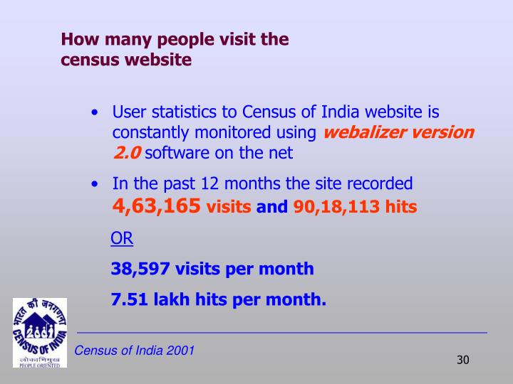 How many people visit the census website