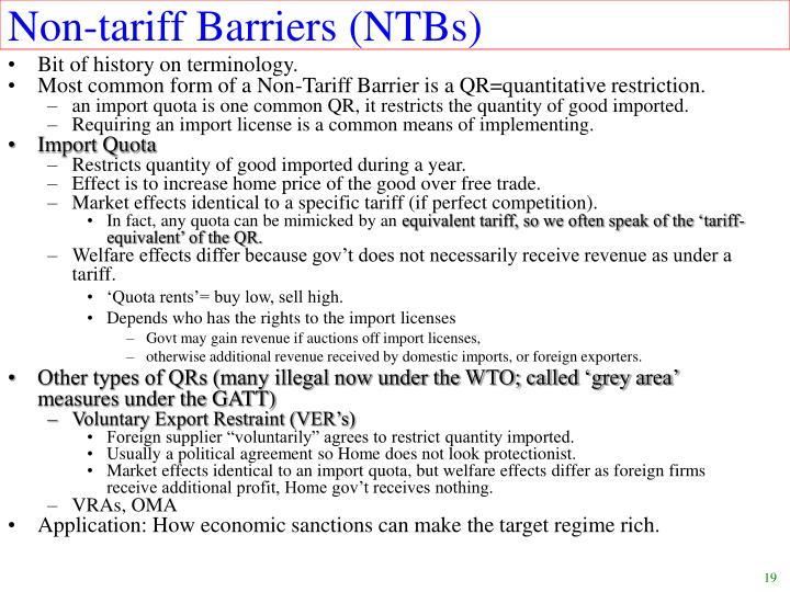 Non-tariff Barriers (NTBs)