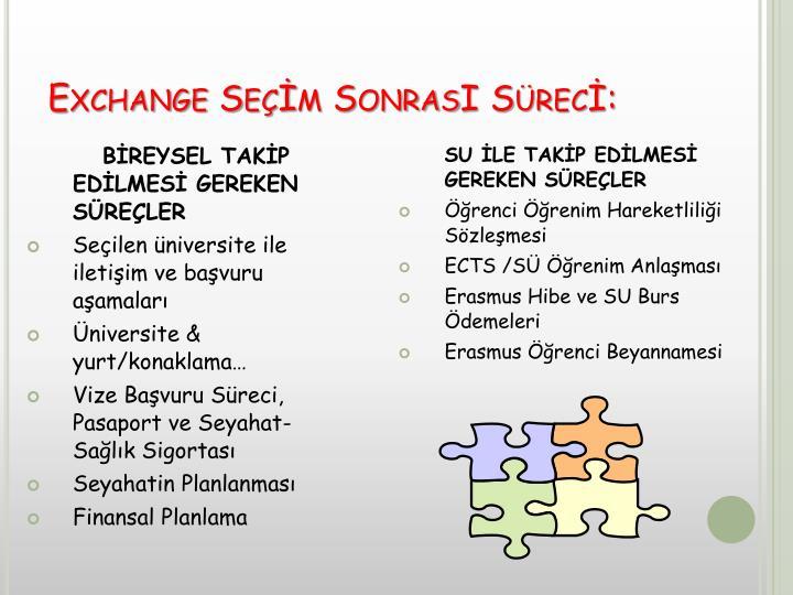 Exchange Seçİm SonrasI Sürecİ: