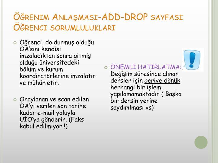 Öğrenim Anlaşması-ADD-DROP sayfası
