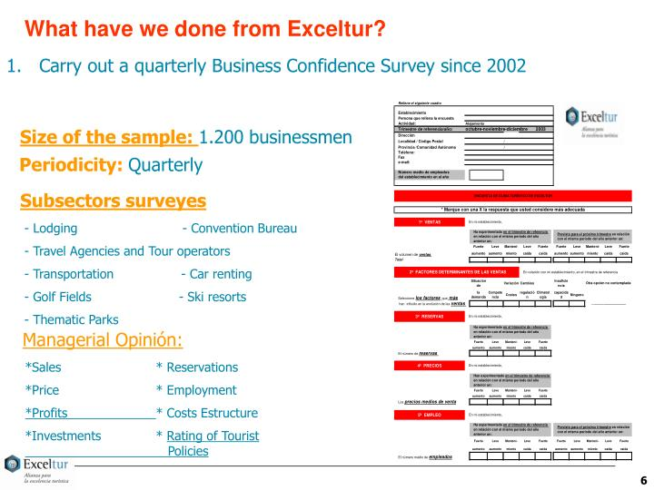 What have we done from Exceltur?