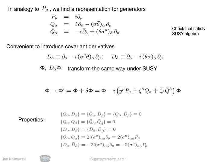 In analogy to       , we find a representation for generators