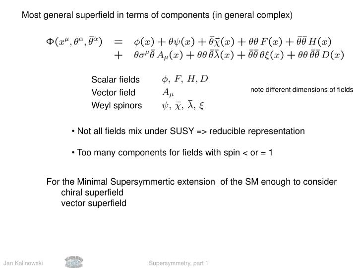 Most general superfield in terms of components (in general complex)